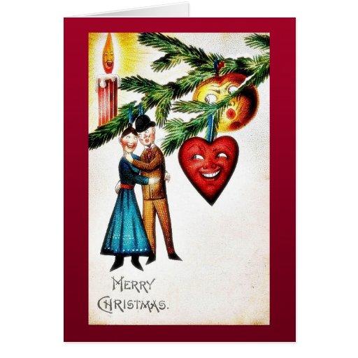 Navidad que saluda con el baile de los pares tarjeta de felicitación