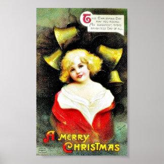 Navidad que saluda con el chica y las campanas alr póster