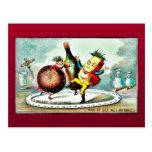 Navidad que saluda con el dibujo animado de vinos  postal