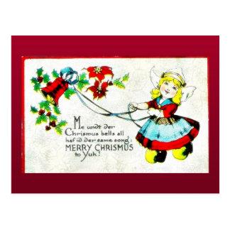 Navidad que saluda con el pájaro que se sienta en  postales