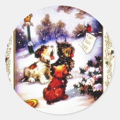 Navidad que saluda con el perro del descortezamien etiquetas