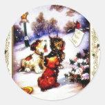 Navidad que saluda con el perro del pegatina redonda