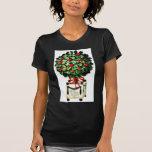 Navidad que saluda con el regalo con las hojas camiseta