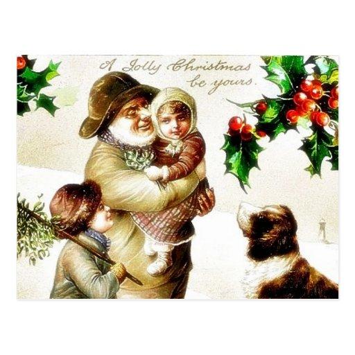 Navidad que saluda con el viejo hombre que lleva a tarjetas postales