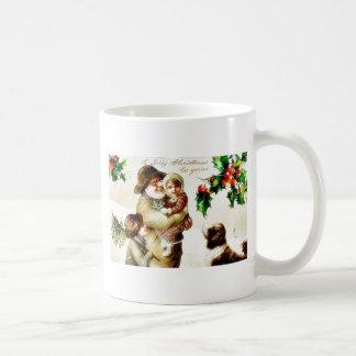 Navidad que saluda con el viejo hombre que lleva a tazas de café