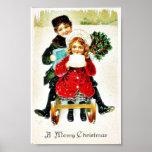 Navidad que saluda con jugar con los regalos poster