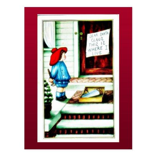 Navidad que saluda con jugar con los regalos tarjetas postales
