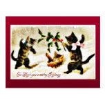 Navidad que saluda con jugar de tres gatos tarjetas postales