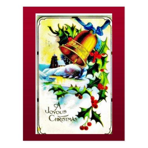 Navidad que saluda con la campana adornada con sce tarjetas postales