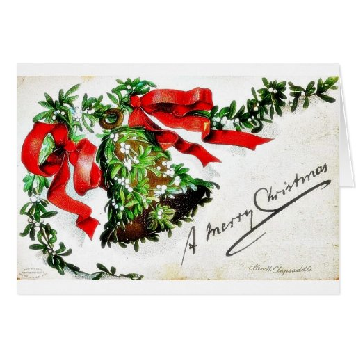 Navidad que saluda con la campana con las cintas tarjeton