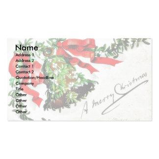 Navidad que saluda con la campana con las cintas plantillas de tarjeta de negocio