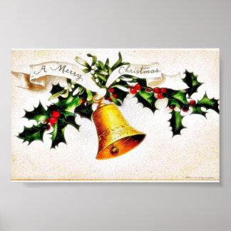 Navidad que saluda con la campana póster
