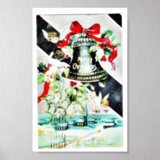 Navidad que saluda con la campana y el ángel póster