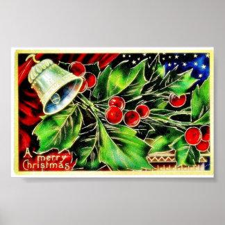 Navidad que saluda con la campana y las hojas sant póster