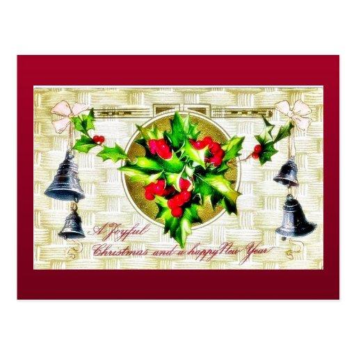 Navidad que saluda con la campana y las hojas sant tarjetas postales
