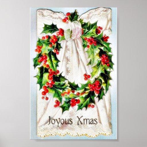 Navidad que saluda con la guirnalda atada en un pa posters