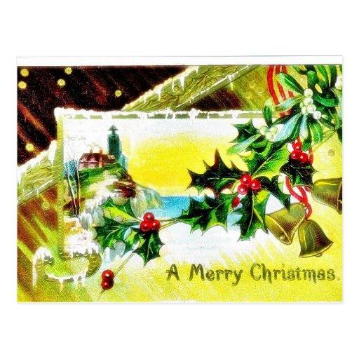 Navidad que saluda con la iglesia y las campanas postal