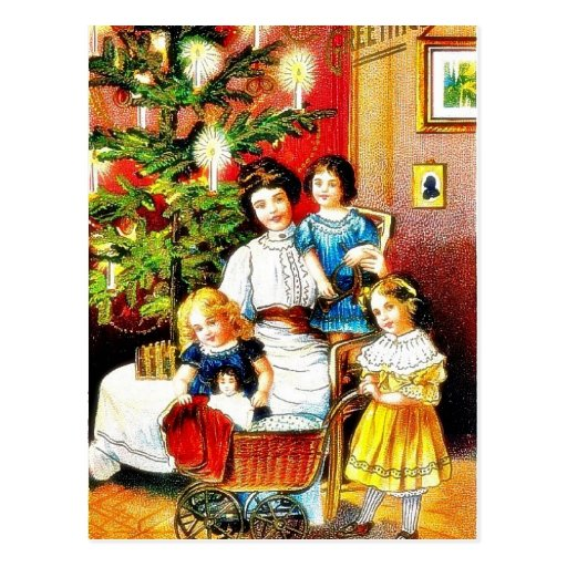 Navidad que saluda con la madre alrededor de su ch postales