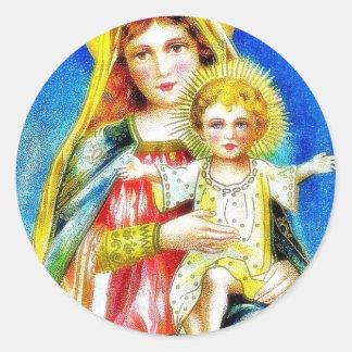 Navidad que saluda con la madre Maria que detiene Pegatina Redonda