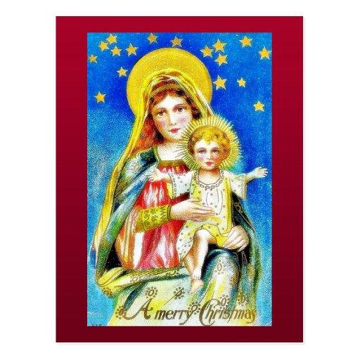 Navidad que saluda con la madre Maria que detiene  Tarjeta Postal