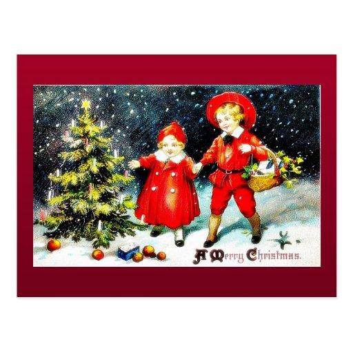Navidad que saluda con la madre que cuida a su hij tarjetas postales