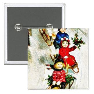 Navidad que saluda con la nieve de cuatro chicas s pin