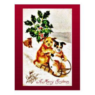 Navidad que saluda con la nieve de dos perros slad tarjetas postales