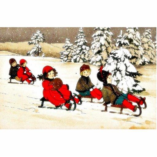 Navidad que saluda con la nieve de los niños sladi fotoescultura vertical