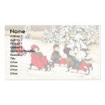 Navidad que saluda con la nieve de los niños sladi tarjetas de visita