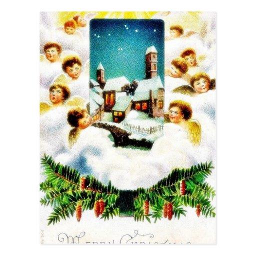 Navidad que saluda con la porción de ángeles alred tarjetas postales