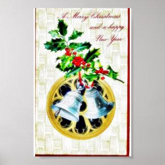 Navidad que saluda con las campanas póster