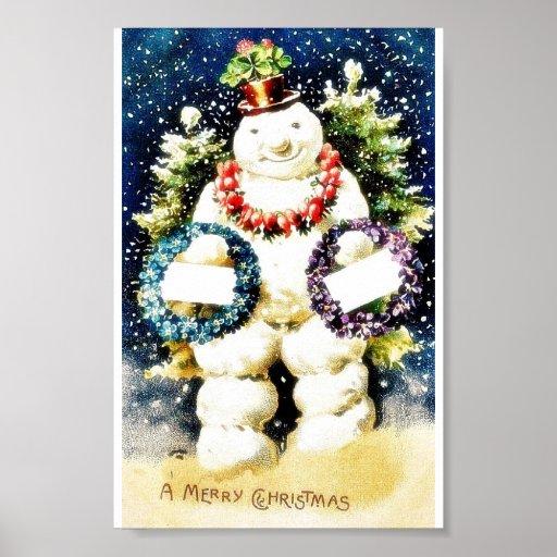 Navidad que saluda con las guirnaldas que llevan d posters