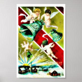 Navidad que saluda con los ángeles que llevan camp póster
