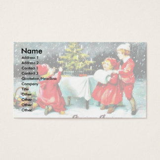 Navidad que saluda con los niños que juegan tarjeta de negocios