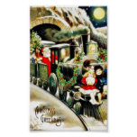 Navidad que saluda con los travells de Papá Noel e Poster