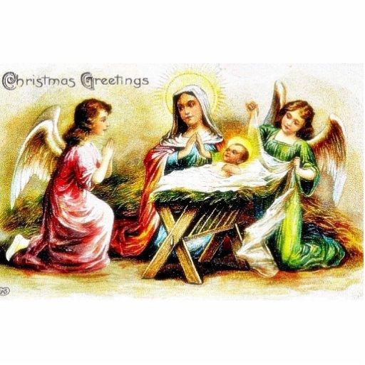 Navidad que saluda con Maria, Jesús infantil con t Esculturas Fotograficas