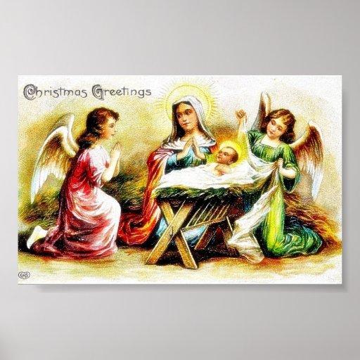 Navidad que saluda con Maria, Jesús infantil con t Póster