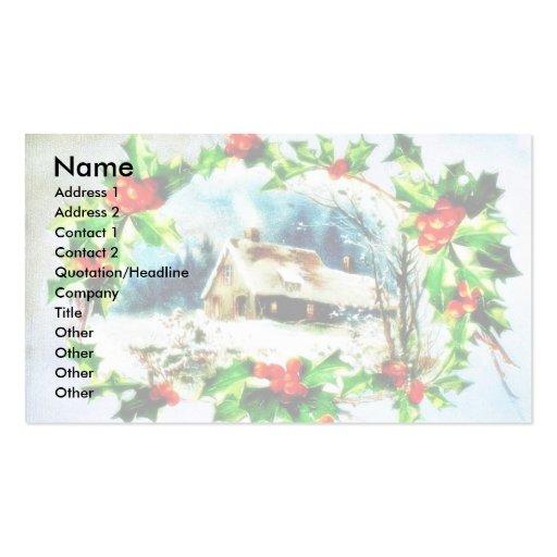 Navidad que saluda con scenary tarjetas de visita