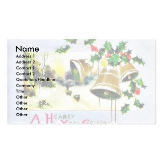 Navidad que saluda con scenary y las campanas tarjeta de visita