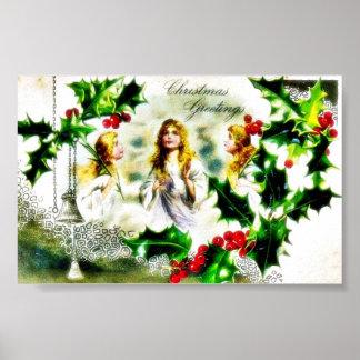 Navidad que saluda con tres chicas, campanas y árb póster