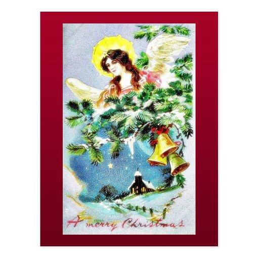 Navidad que saluda con un ángel alrededor de árbol tarjetas postales