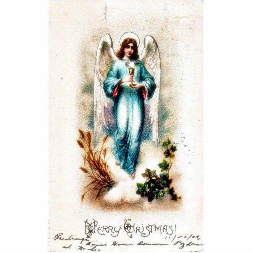 Navidad que saluda con un ángel que detiene a HOL Fotoescultura Vertical