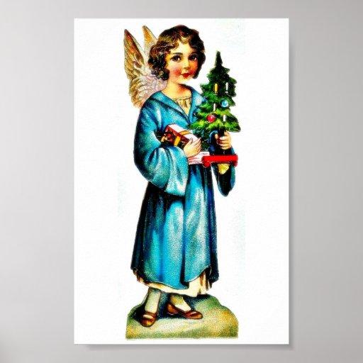 Navidad que saluda con un ángel que se coloca con  póster
