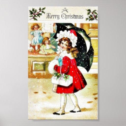 Navidad que saluda con un chica que camina con los póster