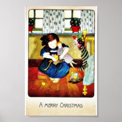 Navidad que saluda con un chica que juega con los  póster
