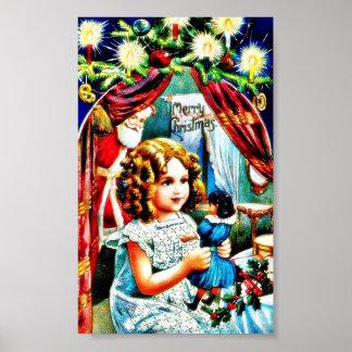 Navidad que saluda con un chica que mira un juguet póster