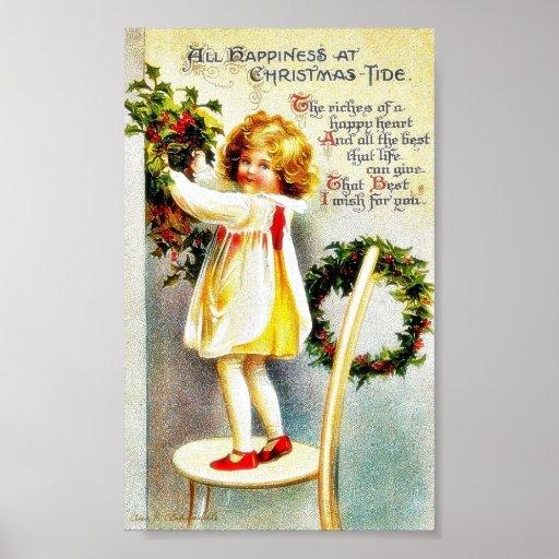 Navidad que saluda con un chica que se coloca en u posters