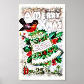 Navidad que saluda con un pájaro que se sienta en  póster