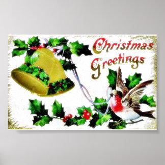 Navidad que saluda con un pájaro y una campana póster