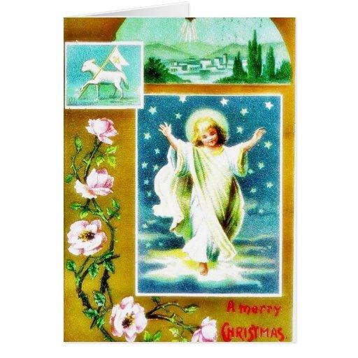 Navidad que saluda con una aparición del je infant tarjeta de felicitación
